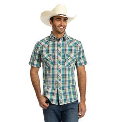 Mc1245m Wrangler Mens Checotah Border Print Long Sleeve Western Shirt