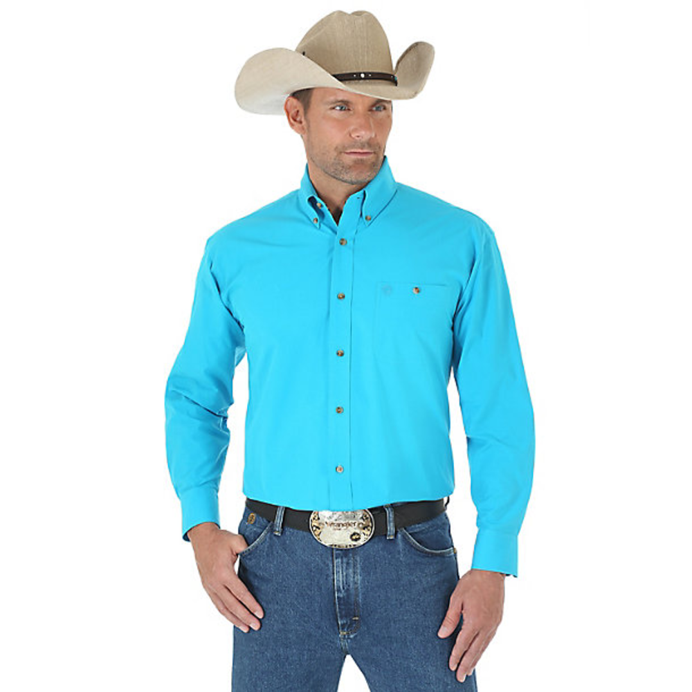 9f5e78066 MEN'S WRANGLER GEORGE STRAIT LONG SLEEVE BUTTON DOWN SOLID SHIRT #MGS272G